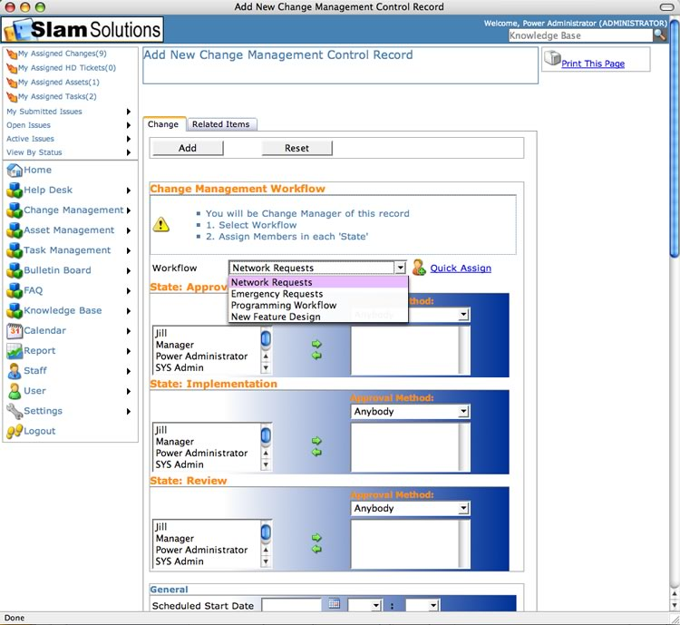 SLAM Change Managment Software - Workflow Assignment