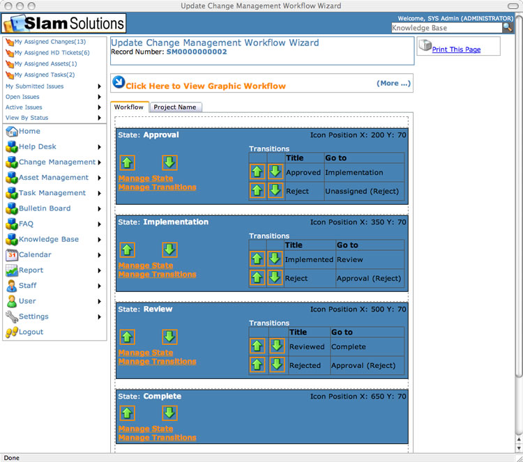 SLAM Change Managment Software - Create New Workflow Step Four